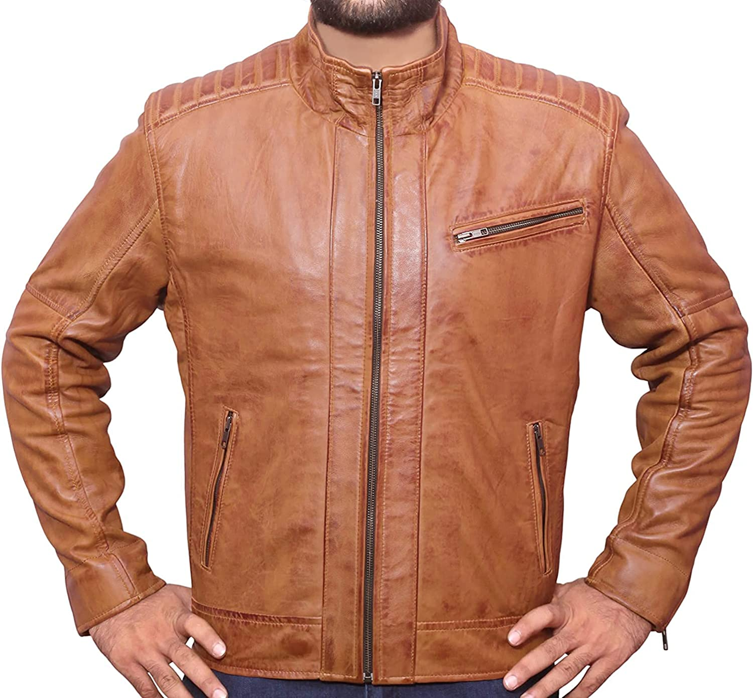 Men's Fashion Antique Brown Stylish Motorcycle Genuine Lambskin Leather Jacket For Men - AS/NZ-721901002