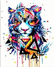 Paint by Numbers Adults and Kids Oil Painting Kit for Decorations and Gifts -Painted Tiger 16x20inch (40x50cm) [No Frame]