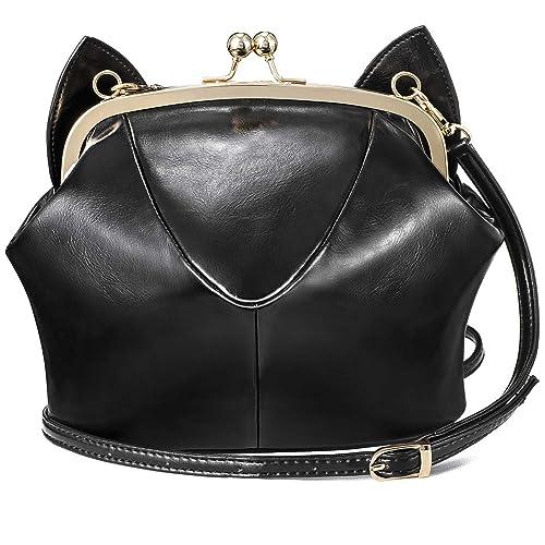 bbab3ab38990 Girls Cute Cat Ear Purse Shoulder Bag Soft Leather Crossbody Bags For Teens  Black LMF