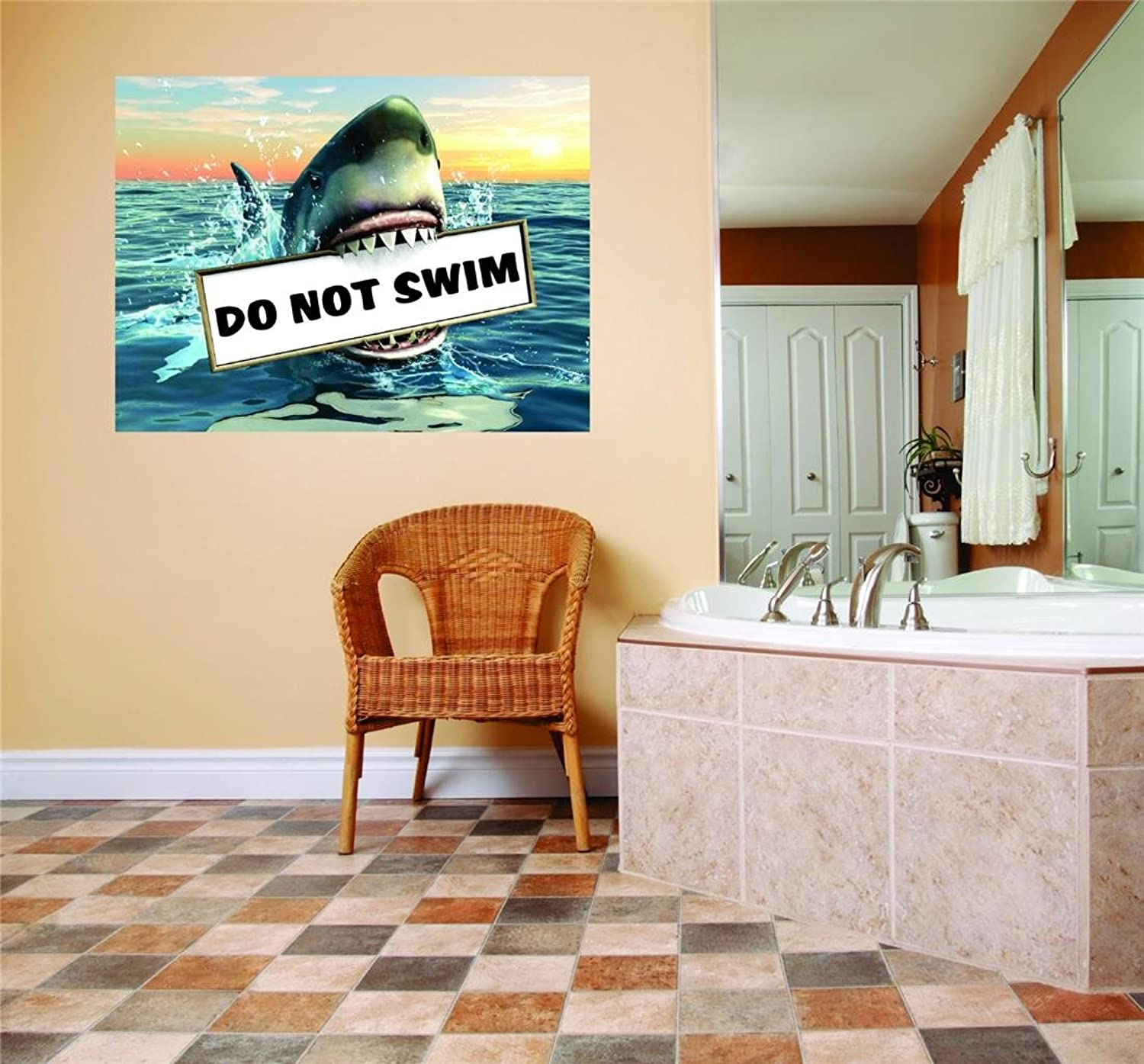 Do Not swim shark teeth Pool water warning sign Home Decor Picture Art Image Mural Peel & Stick Sticker Vinyl Wall  Best Selling Cling Transfer Decal color 582Size   30 Inches X 44 Inches  22 colors Available