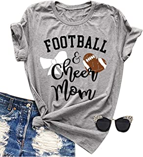 Football and Cheer Mom T Shirt Love Football Mom Mama Funny Short Sleeve Casual Tee Shirts Top