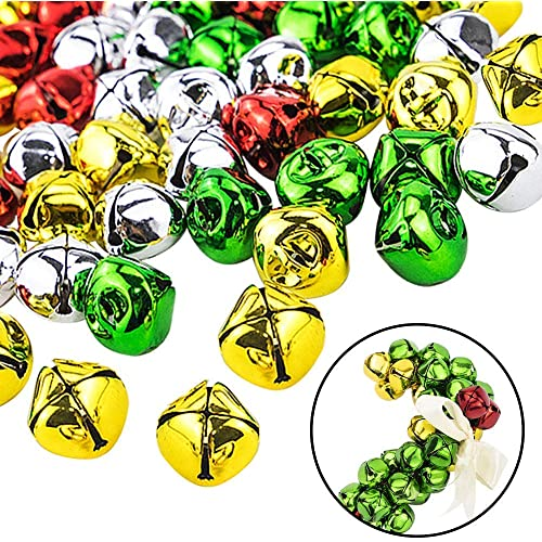 10mm, 15mm, 20mm Outuxed 300Pcs Jingle Bells Colorful Christmas Metal Bells Craft for Festival Decoration DIY Charms Jewelry Making