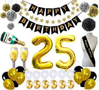 25th Birthday Party Supplies Happy Birthday Decorations Set, 25 Birthday Banner and Sash Foil Party Balloons with Paper Pom Pom Gold Star Paper Garlands Risehy