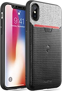 iPhone Xs Credit Card Case, iPhone X Credit Card Case, Poetic Nubuck [Credit Card Slot] [Pull-Tab] Stylish Thin TPU + Premium Leather Back Case for Apple iPhone X (2017)/ iPhone Xs (2018) - Black