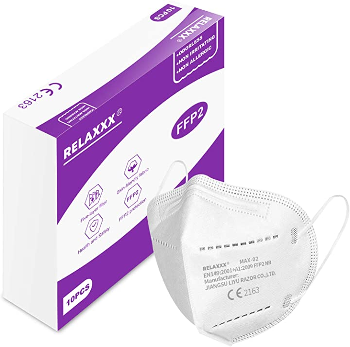 Mascherina ffp2 filtri 95% mascherine ffp2 certificate ce 5 strati - confezione da 10 pezzi relaxxx B08L9RRBBR