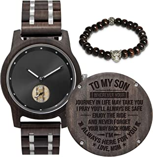 Customized Engraved Wooden Watch, Analog Quartz Movement Wood Watch for Men Husband Family Friends Customized Gift