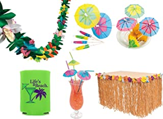 Shoot for the Stars Tropical Luau Party Decorations (Grass Table Skirt, 144 Paper Cocktail Umbrella Food Picks, 24 Parasol Straws, Tissue Flower Garland, Bonus Can Cooler