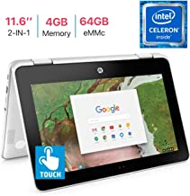 HP X360 Chromebook 11.6-inch 2-in-1 Touchscreen HD Laptop PC, Intel Celeron N3350 up to 2.4GHz Processor, 4GB DDR4, 64GB eMMC, WiFi, Webcam, Stereo Speakers , Bluetooth 4.2, Chrome OS, Snow White