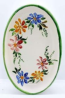 Piatto Ovale Linea Fiori del Sorriso Ceramica Realizzato e Dipinto a mano Le Ceramiche del Castello Nina Palomba Made in I...