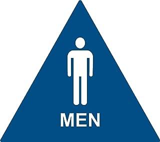 ADA Compliant Men Restroom Sign, Triangle Geometric Door Sign (Blue)