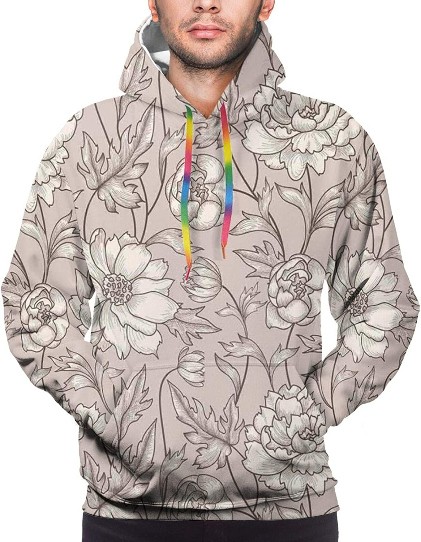 Men's Hoodies Sweatshirts,Earth Tones Flower Petals Autumn Classic Flourishing Mother Nature Design