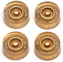 Metallor Electric Guitar Top Hat Knobs Speed Volume Tone Control Knobs Compatible with Les Paul LP Style Electric Guitar Parts Replacement Set of 4Pcs. (Gold)