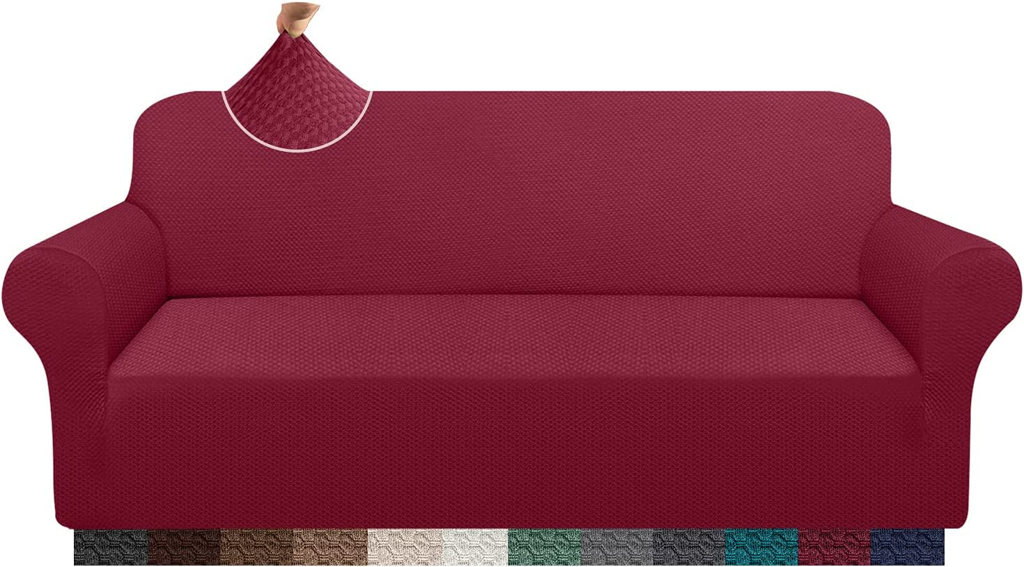 Cherrypark Super Thick Sofa Covers for 3 Cushion Couch Stretch Fit Couch Cover Unique Pattern Sofa Slipcover for Living Room Non-Slip Furniture Protector (Large, Wine Red)