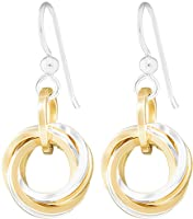 Two-Tone Love Knot Dangle Earrings with Mixed 14K Gold-Filled and 925 Sterling Silver Circles Everyday Jewelry Gift Idea...