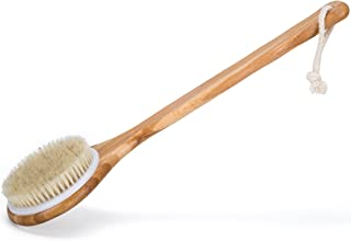 Janrely Bath Dry Body Brush Natural Bristles Back Scrubber With Long Wooden Handle For..