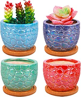 ROSE CREATE 3.5 Inches Ceramic Succulent Planters, Colorful Bonsai Pots for Window Desk Home Decor with Bamboo Trays