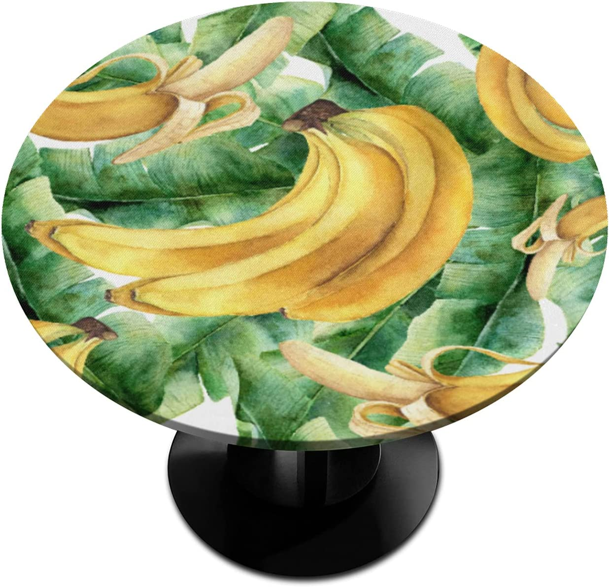 Round Fitted Tablecloth Lowest price challenge with Daily bargain sale Elastic Leaf Edged Waterpro Banana