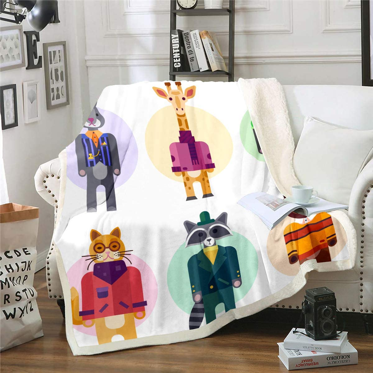 Kids Popular product Cartoon Giraffe Fleece Throw Blanket Couch Bed New product Zoo Sofa for