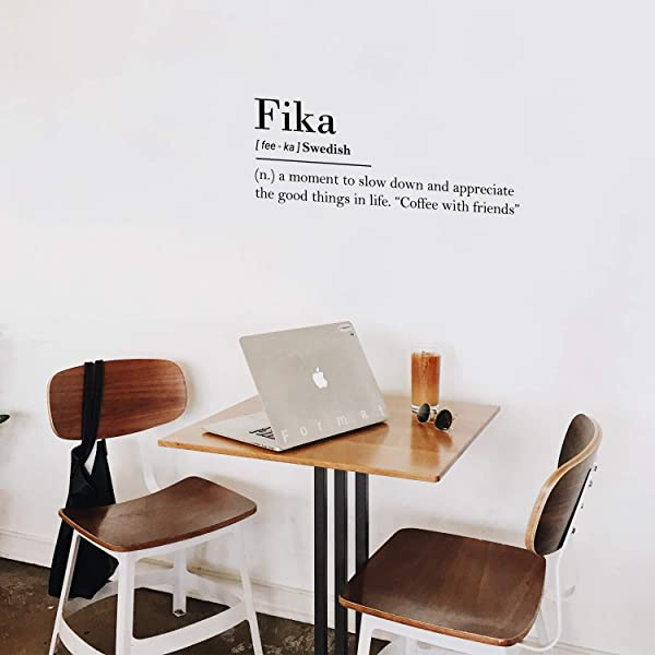 Vinyl Wall Art Decal Fika Swedish Definition 11 X 30 Trendy Inspirational Modern Quotes For Home Bedroom Office Living Room Apartment Work Indoor Coffee Shop Decoration