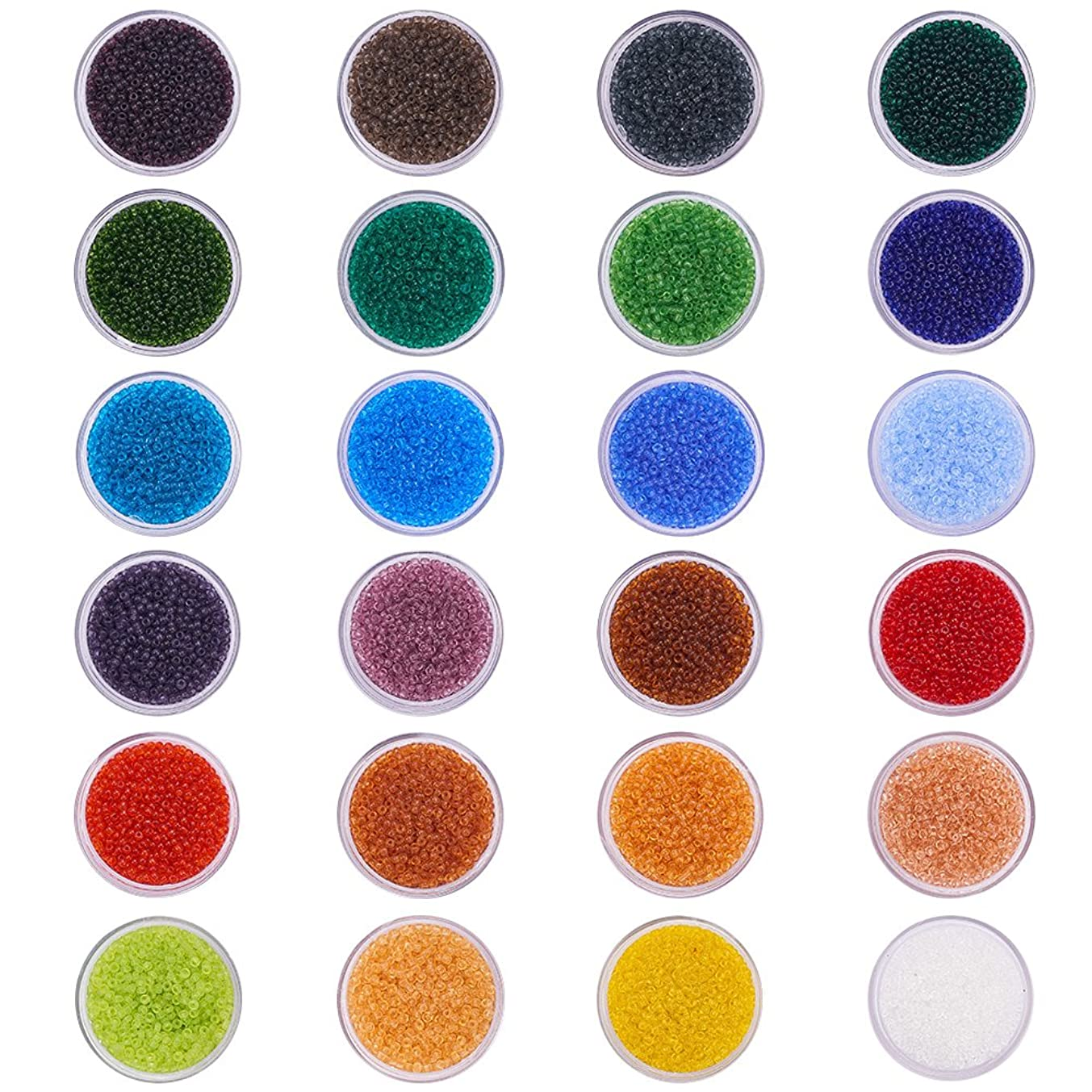 PandaHall Elite 24 Boxes of About 24000 Pcs 12/0 Multicolor Beading Glass Seed Beads 24 Colors Transparent Lined Round Pony Bead Mini Spacer Beads Diameter 2mm with Container Box for Jewelry Making