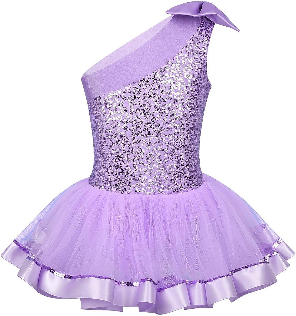 renvena Kids Girls One Shoulder Bowknot Shiny Sequins Leotard Tutu Dress for Ballet Dance Gymnastic Active