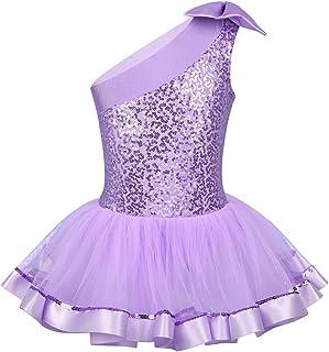 46e4d19db IEFIEL Disfraces Bailarina Niña Maillot Ballet Lentejuelas Maillot Gimnasia  Artistica Un Hombro Descubierto Bowknot Vestido de