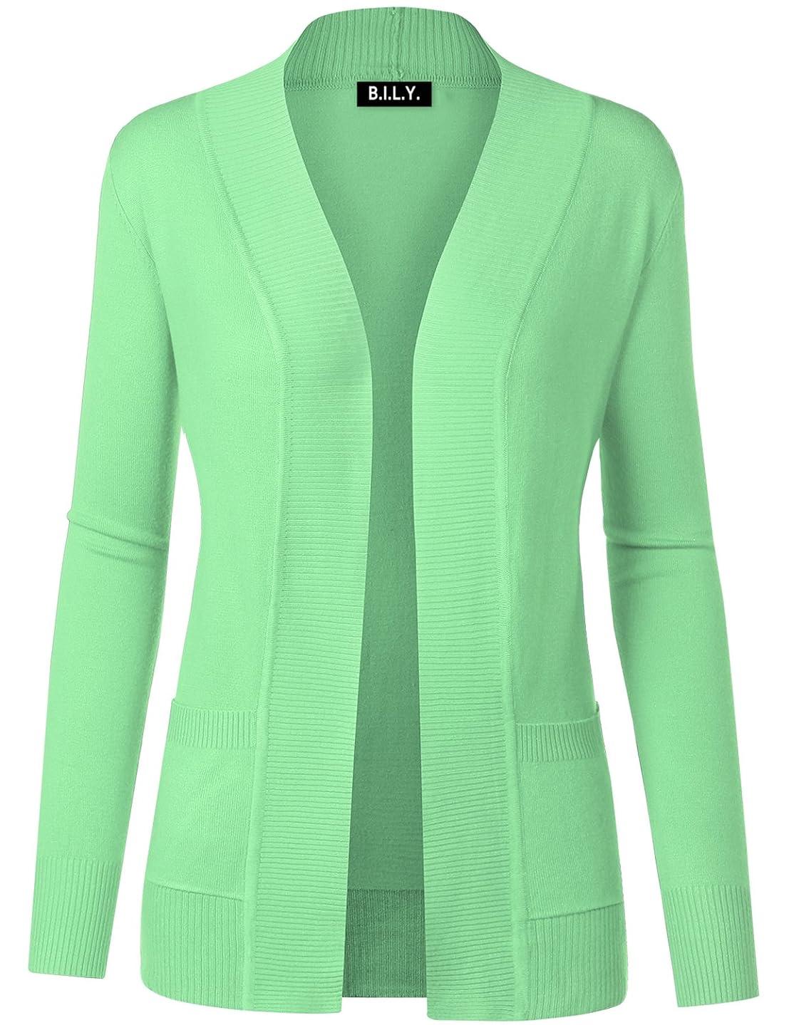 BH B.I.L.Y USA Women's Open Front Long Sleeve Classic Knit Cardigan Mint 2 Medium