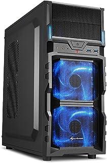"""Sharkoon VG5-V - Caja de Ordenador Gaming (semitorre ATX, iluminación Azul, Incluye 2 Ventiladores LED, 2 bahías de 5,25"""")..."""