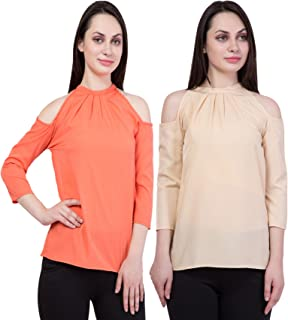American-Elm Women's Cotton Crepe Pack of 2 Slim fit Top