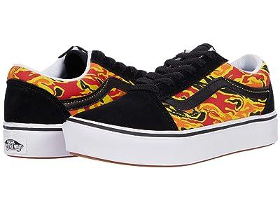 Vans Kids ComfyCush Old Skool (Big Kid) ((Flame Camo) Black/True White) Boys Shoes
