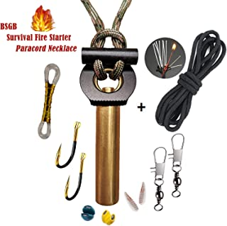 BSGB Fire Starter Paracord Necklace EDC Military Survival Gear Tinder Cord Firesteel and Striker Kit Magnesium Ferro Rod Tool Fishing Tools for Emergency Outdoor Hiking Camping Hunting