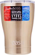 NEW OASIS DOUBLE WALL INSULATED STAINLESS STEEL TRAVEL CUP 340ml Coffee Tea GOLD