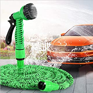 100FT Expandable Garden Hose for Garden Watering Car Wash Multi-Function Flexible Water Hose Pipe Kit with 7-in-1 Spray Gun Nozzle