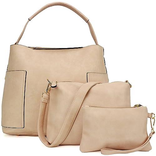 af45266ef9 3PCS Women Vegan Leather Handbags Designer Hobo Bag Shoulder Purse Top  Handle Tote Work Bag