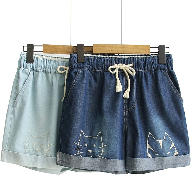 783d4e9ba6 Alaimc Mando Embroidery Women Denim Denim Denim Shorts Elastic High Waist  Wide Leg Female Shorts Cartoon Cat faecdc