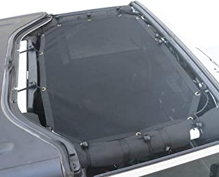 AVOMAR Sunshade Mesh Sun Shade Full Top Cover UV Protection with Storage Pockets for 2007-2017 Jeep Wrangler JK & Unlimited (Black)