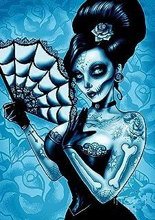 Pintura con diamantes de imitación 5D Skull, pintura con numeros calavera y diamantes de imitación, kit de punto de cruz manualidades cristales lienzo para decoracion de pared para salon 30 x 40 cm