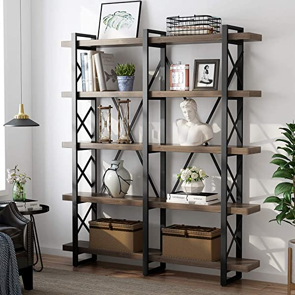 LITTLE TREE 5 Tier Double Wide Open Bookcase Solid Wood Industrial Large Metal Bookcases Furniture Vintage 5 Shelf Bookshelf Etagere Book Shelves For Home Office Decor Display Retro Brown
