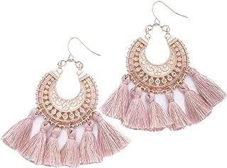 Rose Gold Tassel Earrings: Pink fringe gifts for women. Fashion drop dangle tassle earing by BLUSH & CO.