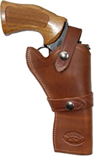 Barsony New Brown Leather Western Style Gun Holster for 4 inch Revolvers