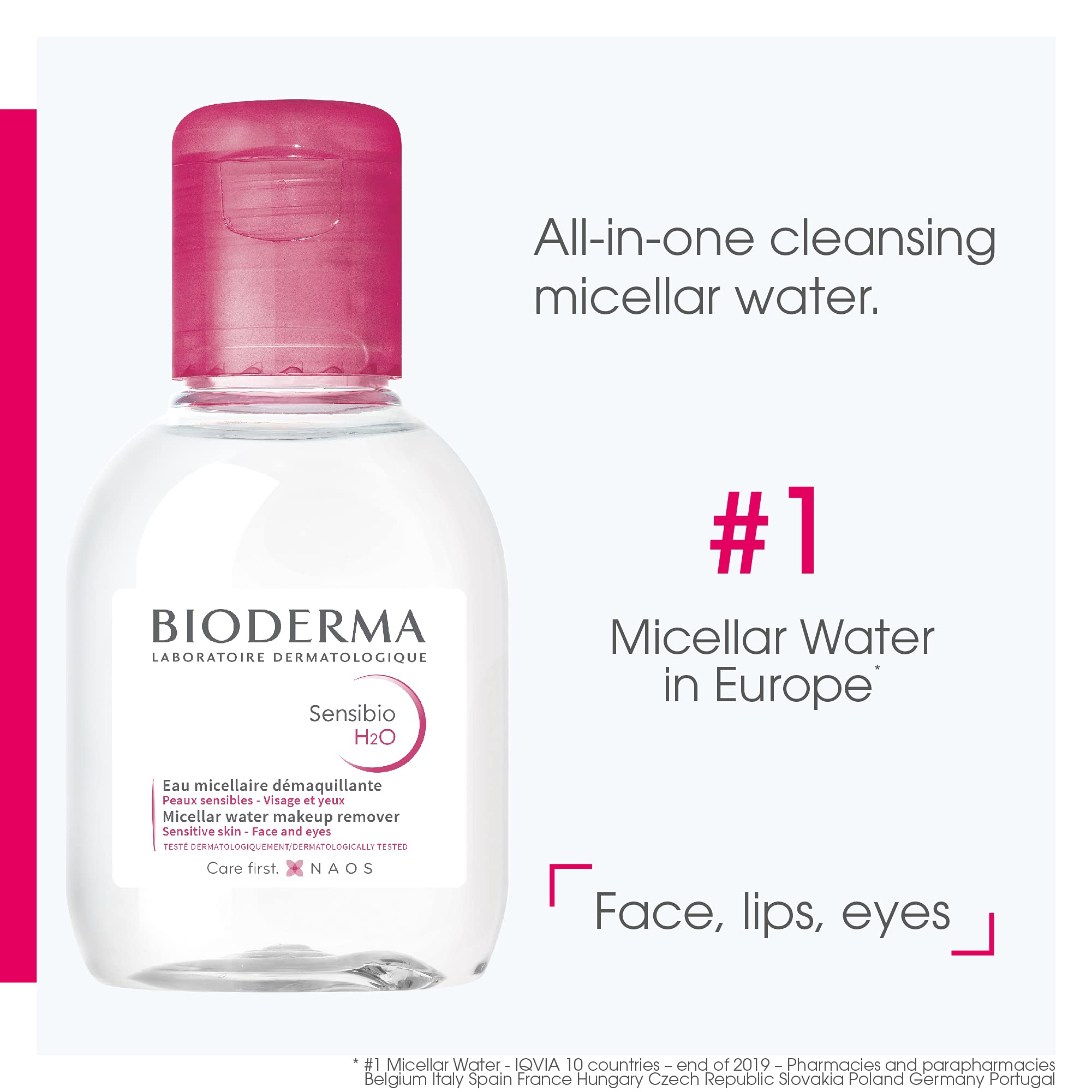 Bioderma Sensibio H2O Daily Soothing Cleanser, Make up Pollution & Impurities Remover Face Eyes Sensitive skin, 100ml