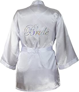 Dreamgirl Women's Plus-Size Bridal Charmeuse Robe with Chemise and Padded Hanger