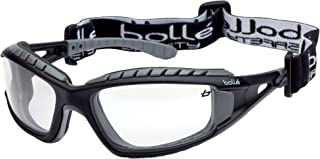 Bollé Safety 253-TR-40085 Tracker Safety Eyewear with Black/Gray Polycarbonate + TPE Full Frame and Clear Lens