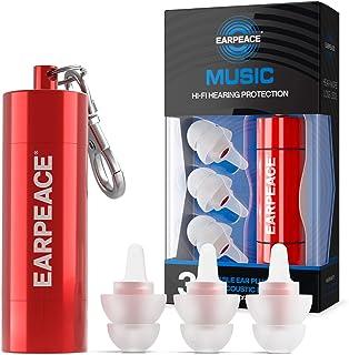 EarPeace HD 音楽のための耳栓- 音楽フェスティバル、ライブ、DJやミュージシャンのための高機能プロテクション (スタンダードサイズ, 赤ケース)