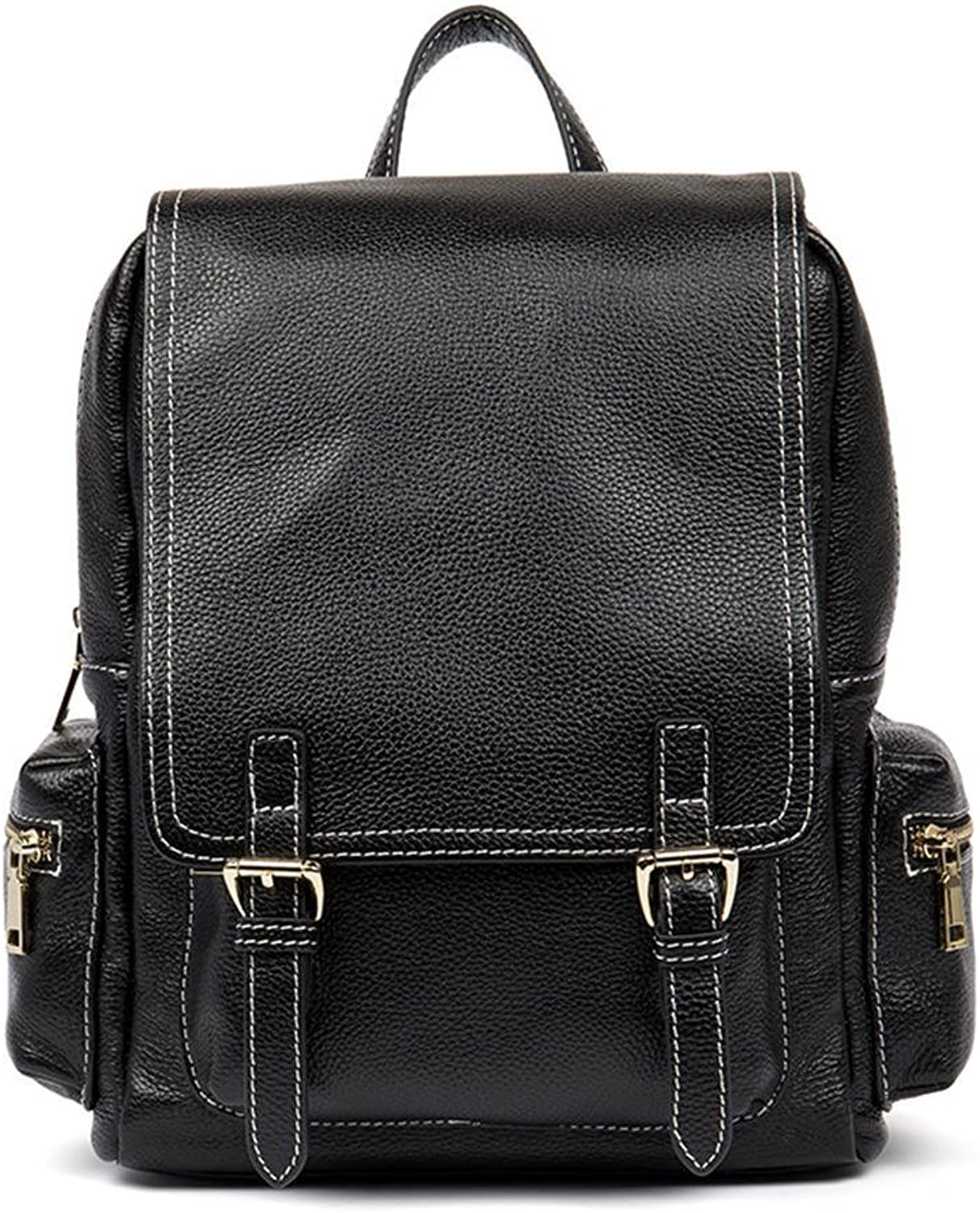 HMILY First Layer Cowhide Retro Style Ladies Shoulder Bag Fashion Wild Backpack H7020 Black