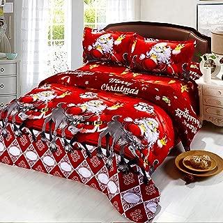 Oliven 4 Pieces 3D Christmas Bedding Set Twin Size Cartoon Santa Claus Duvet Cover Flat Sheet Standard Pillowcases-Red,Christmas Home Decor