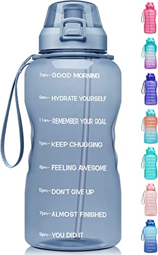 Fidus Large 1 Gallon/128oz Motivational Water Bottle with Time Marker & Straw,Leakproof Tritan BPA Free Water Jug,Ens...