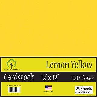 Lemon Yellow Cardstock - 12 x 12 inch - 100Lb Cover - 25 Sheets