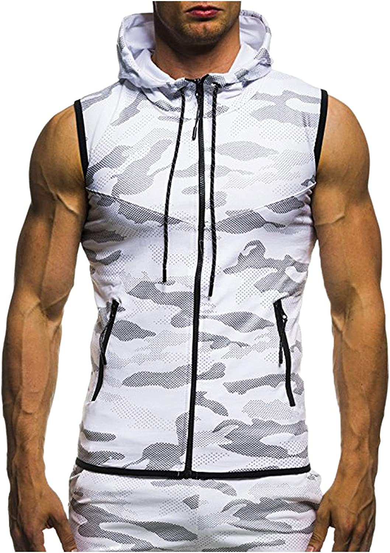 JSPOYOU Mens Sleeveless Hoodie Gym Tank Tops Camouflage Print Slim Fit Bodybuilding Zipper Vest Blouse