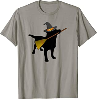 Funny Halloween Black Lab Dog Cute Witch Hat Broom T-shirt